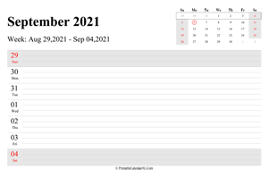 september 2021 weekly calendar with us holidays landscape layout