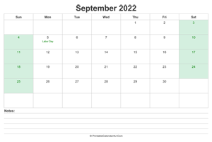 september 2022 calendar with us holidays and notes landscape layout