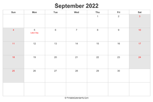 september 2022 calendar with us holidays highlighted landscape layout