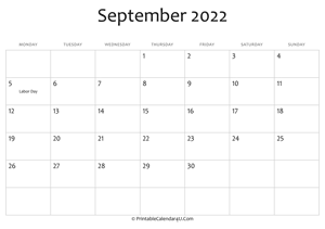 september 2022 editable calendar with holidays