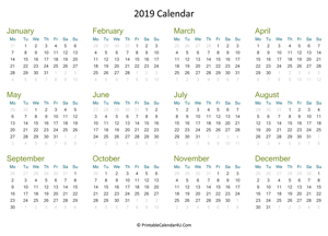 yearly calendar 2019 landscape layout
