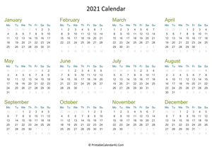 yearly calendar 2021 landscape layout