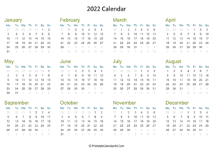 yearly calendar 2022 landscape layout
